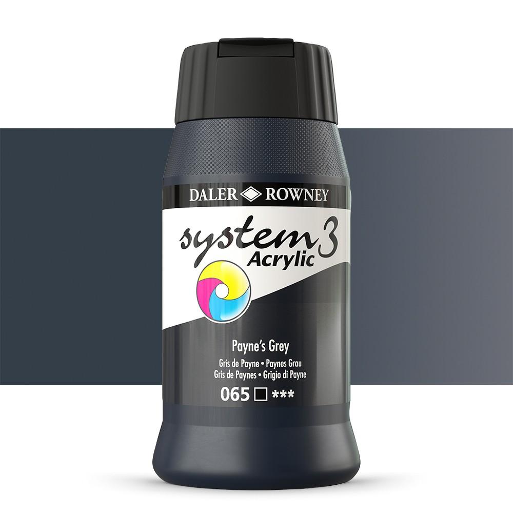 Daler Rowney : System 3 Acrylic Paint : 500ml : Paynes Grey