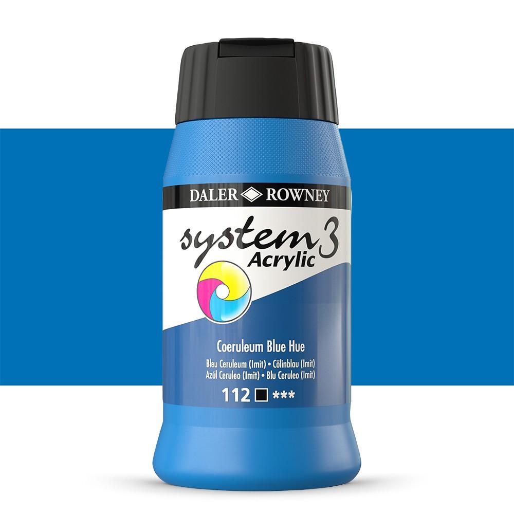 Daler Rowney : System 3 Acrylic Paint : 500ml : Coeruleum Blue Hue