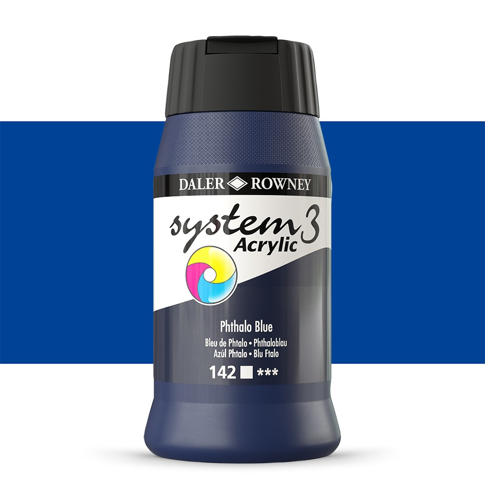 Daler Rowney : System 3 Acrylic Paint : 500ml : Phthalo Blue