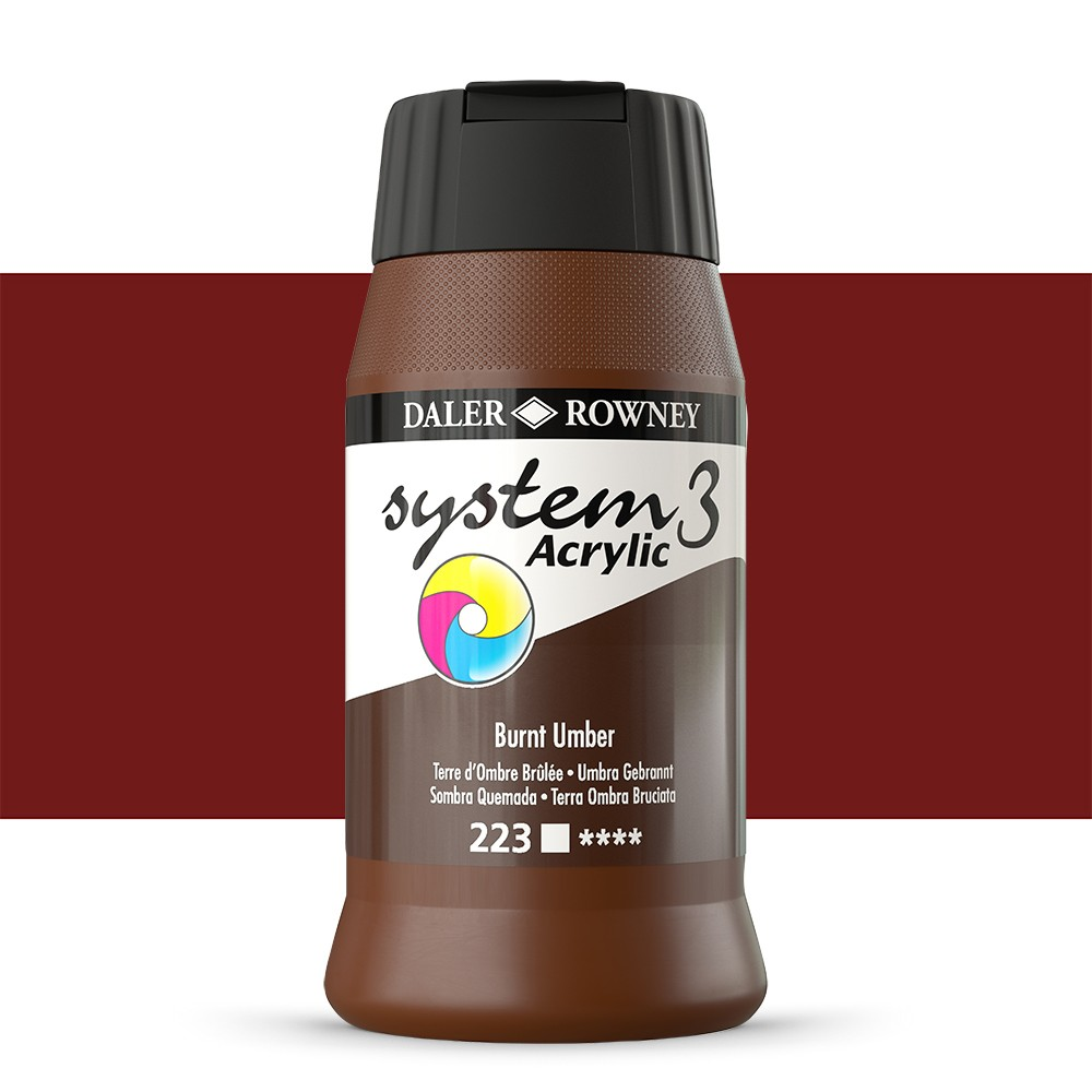 Daler Rowney : System 3 Acrylic Paint : 500ml : Burnt Umber