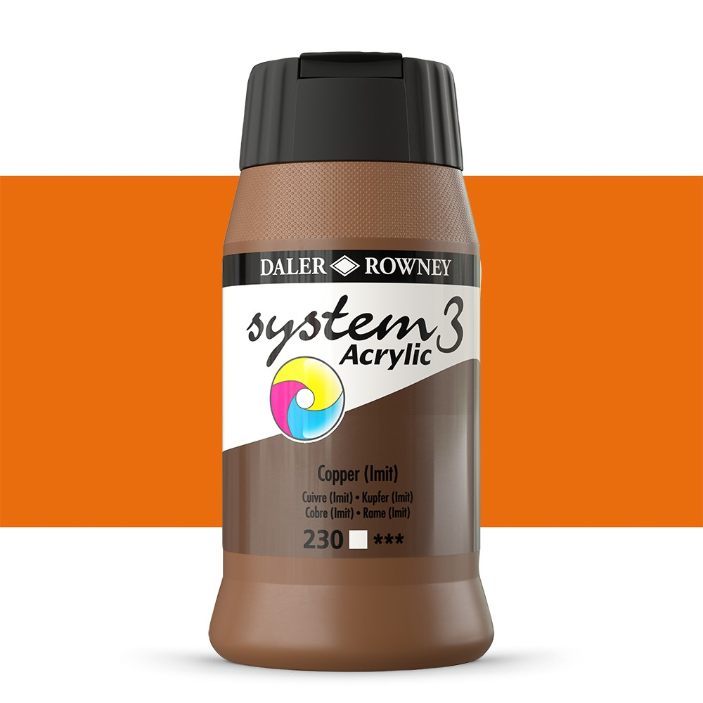 Daler Rowney : System 3 Acrylic Paint : 500ml : Copper Hue