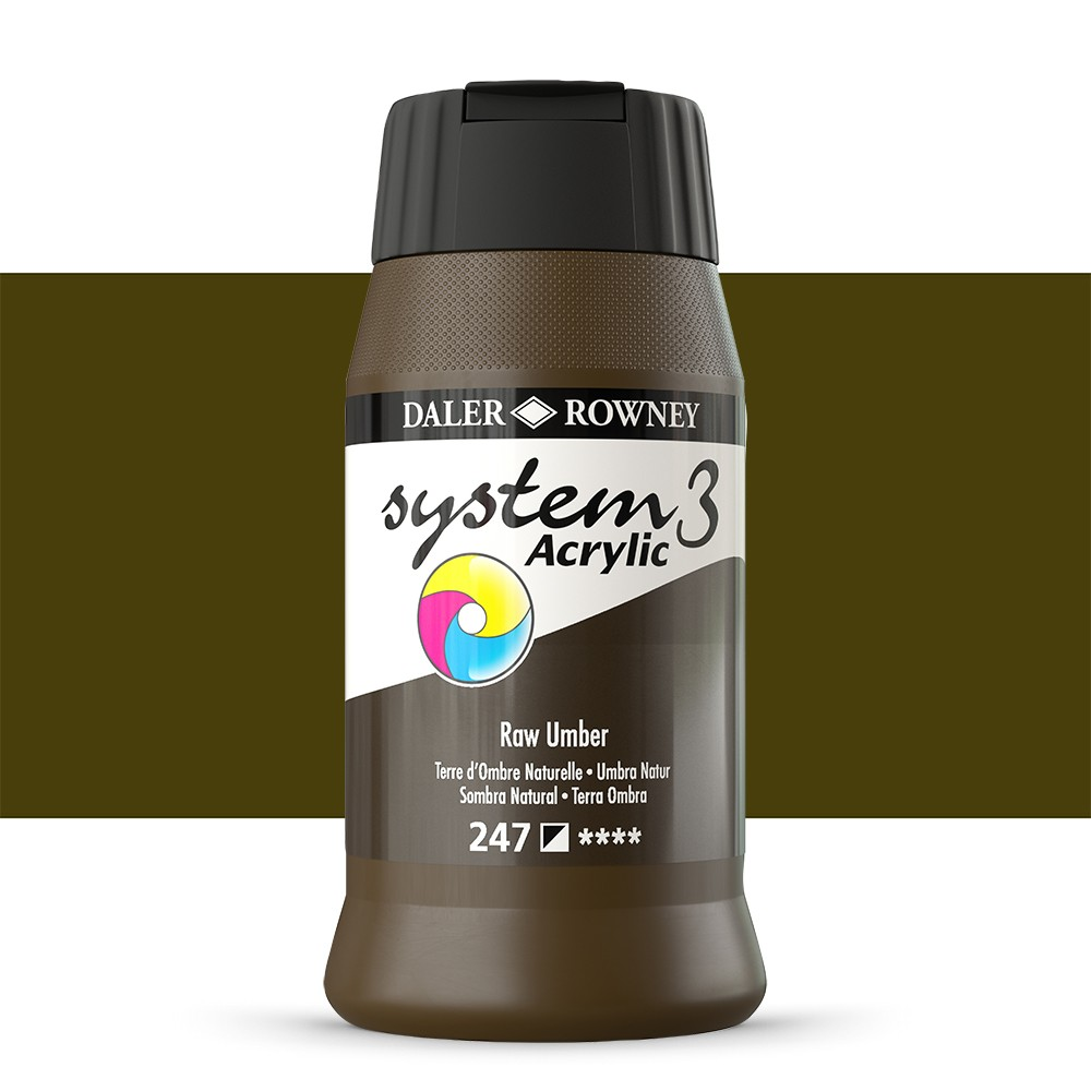 Daler Rowney : System 3 Acrylic Paint : 500ml : Raw Umber