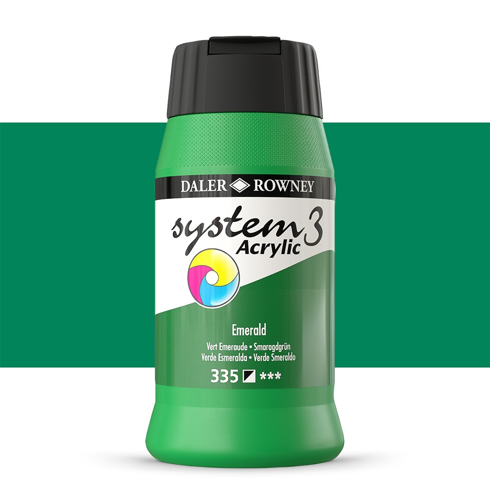 Daler Rowney : System 3 Acrylic Paint : 500ml : Emerald