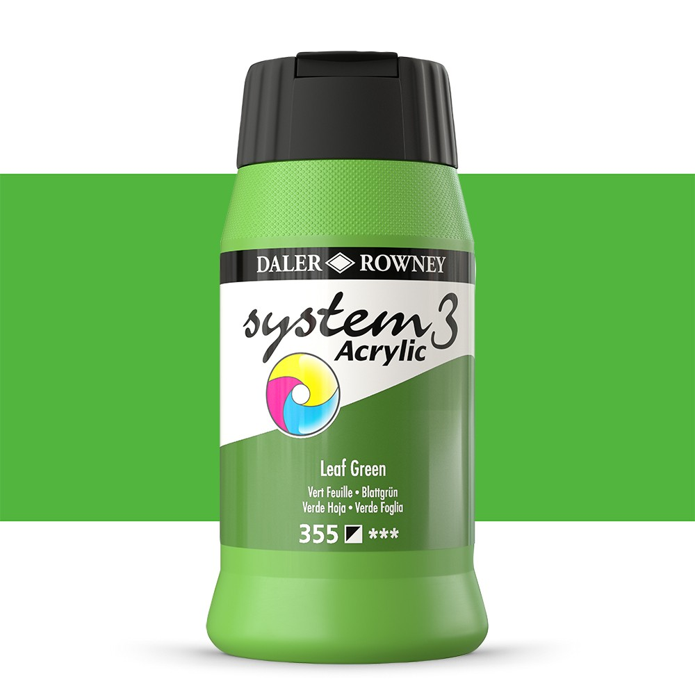 Daler Rowney : System 3 Acrylic Paint : 500ml : Leaf Green