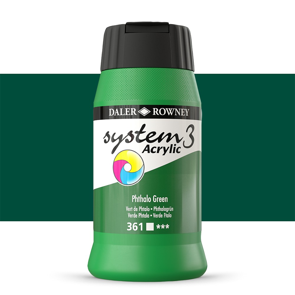 Daler Rowney : System 3 Acrylic Paint : 500ml : Phthalo Green