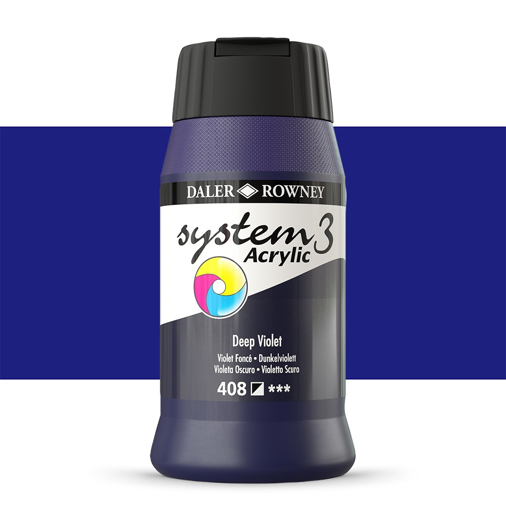 Daler Rowney : System 3 Acrylic Paint : 500ml : Deep Violet