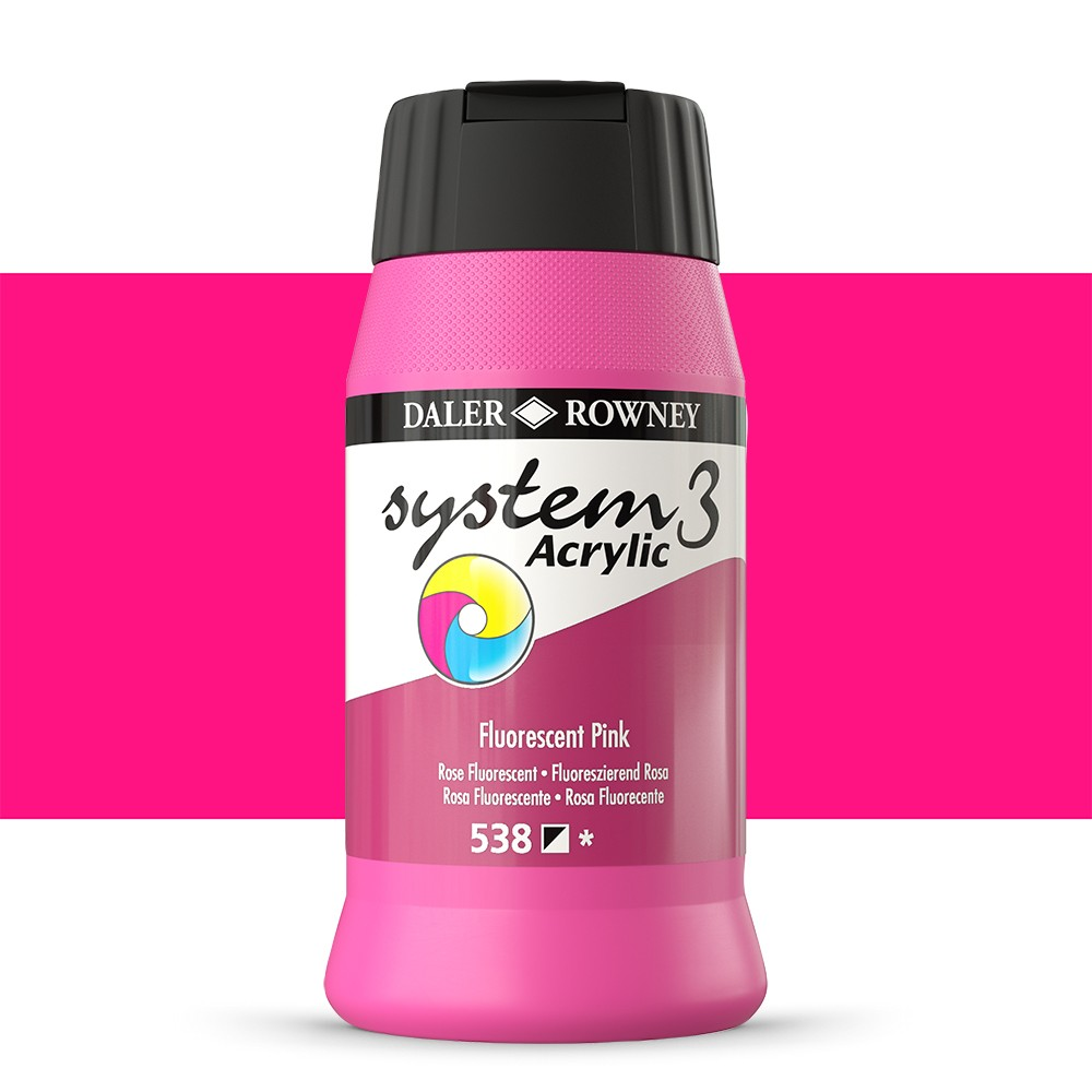 Daler Rowney : System 3 Acrylic Paint : 500ml : Fluorescent Pink