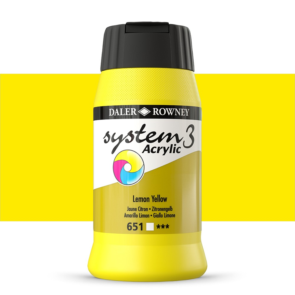 Daler Rowney : System 3 Acrylic Paint : 500ml : Lemon Yellow