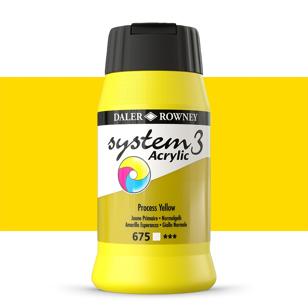 Daler Rowney : System 3 Acrylic Paint : 500ml : Process Yellow
