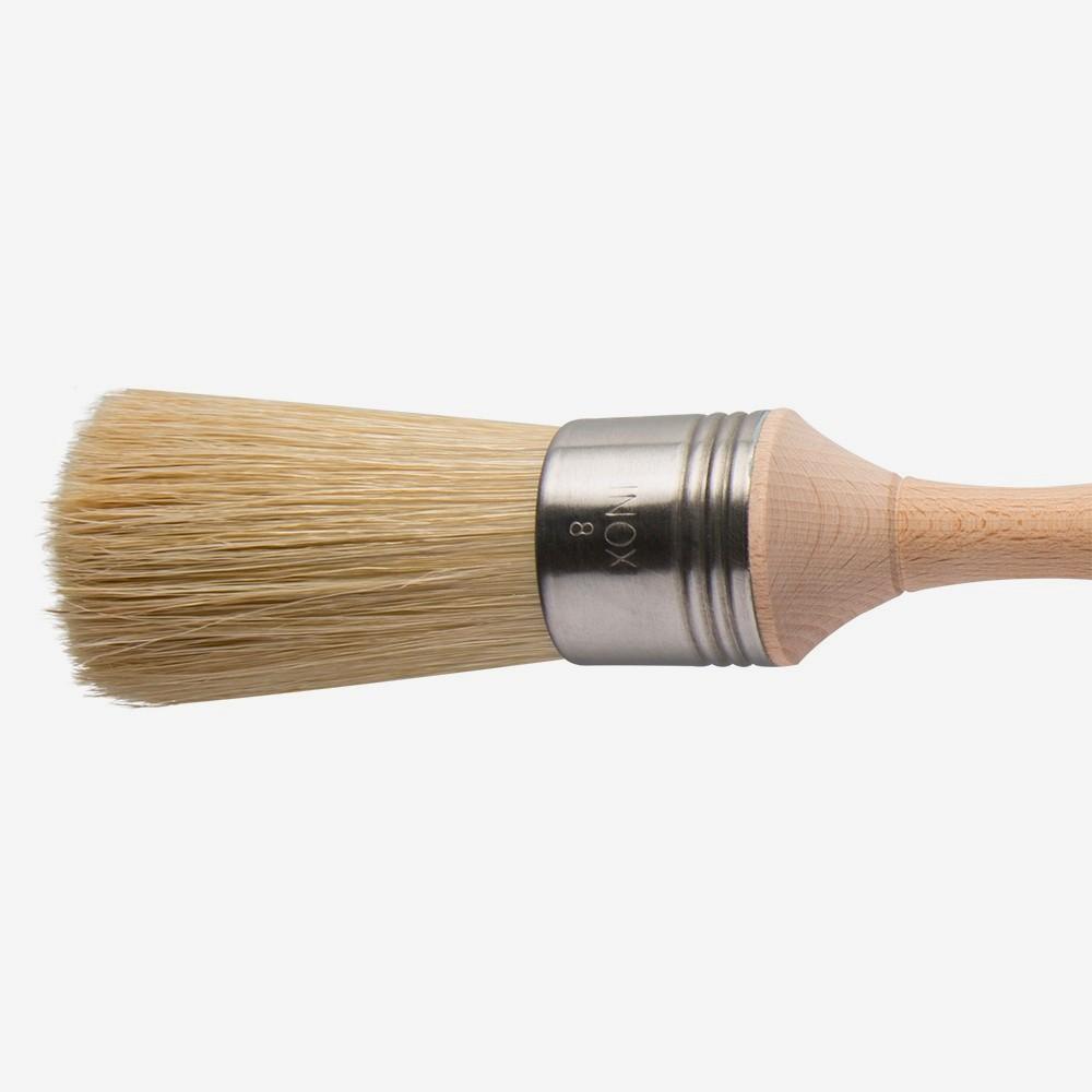 Escoda : Square Edge Bristle Round Brush : No.8. : Stainless Steel Ferrule 36mm