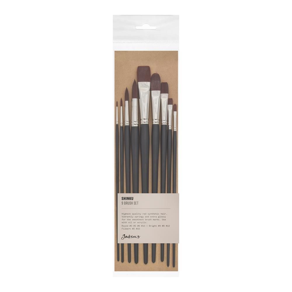 Jackson's : Shinku Red Synthetic Bristle Hair Brush : Set of 9