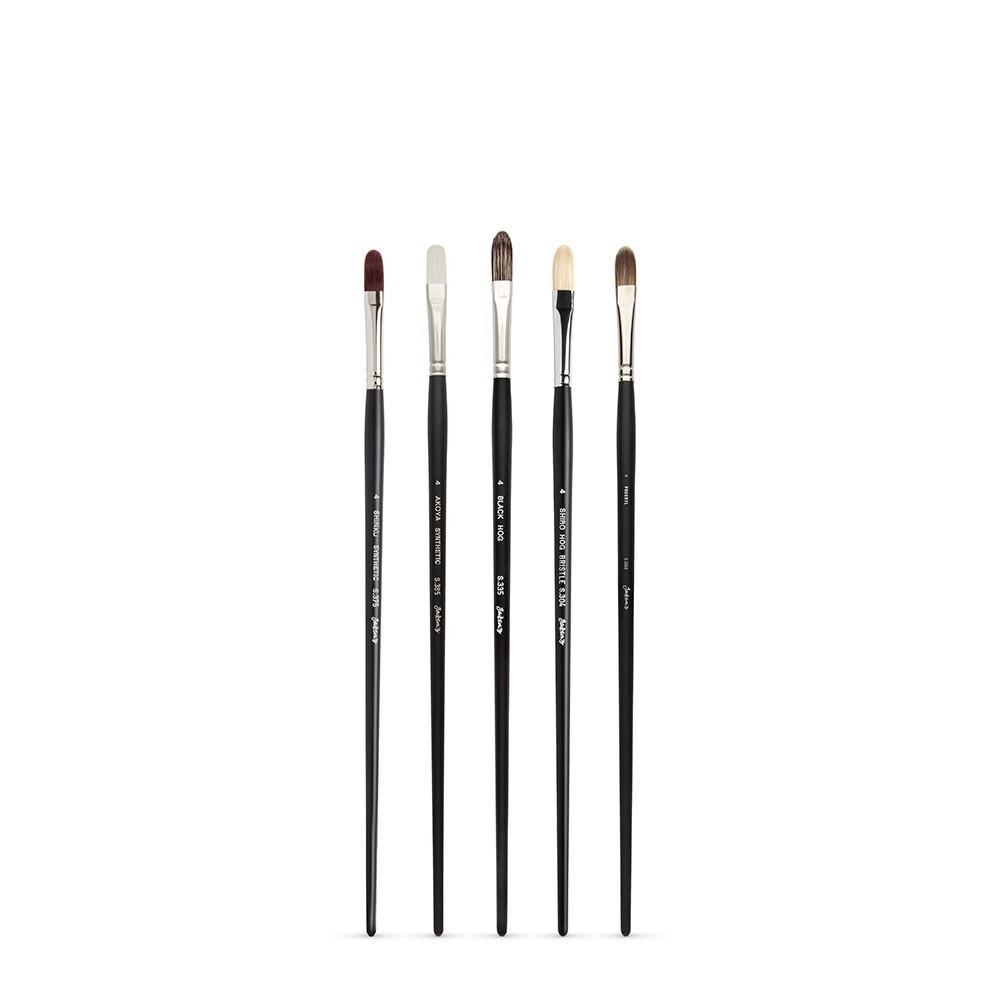 Jackson's : Long Handle Oil & Acrylic Brush : Comparison Set of 5 Filbert