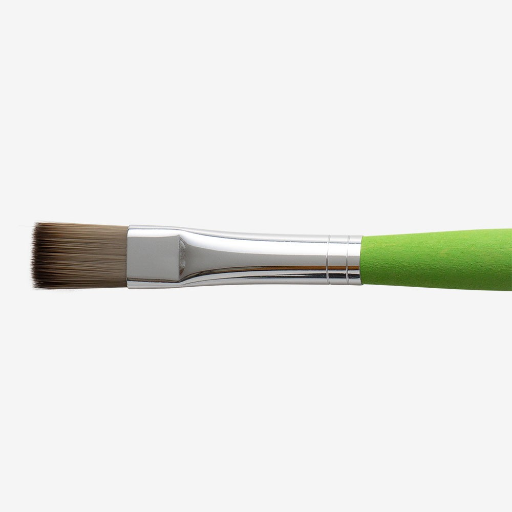 Da Vinci : Hobby and School Green Painting Brush : Flat : Size 12
