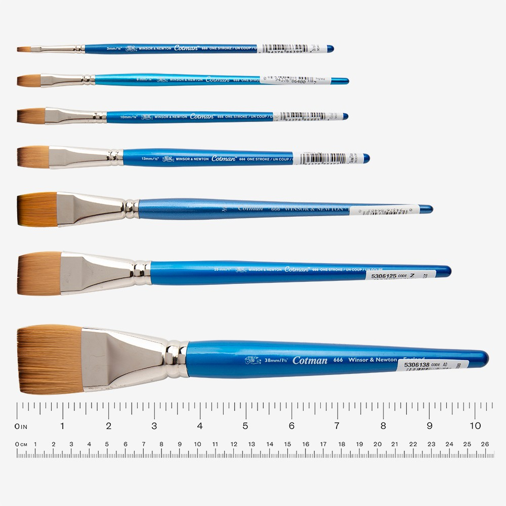 W&N : Cotman Brush : Series 666 : One Stroke : 1in