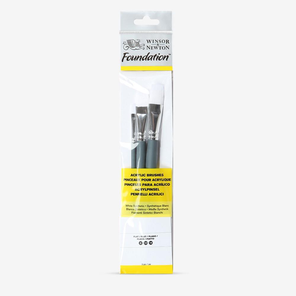 Winsor & Newton : Foundation Acrylic Brush Set : SH Flat 4, 10 & 14