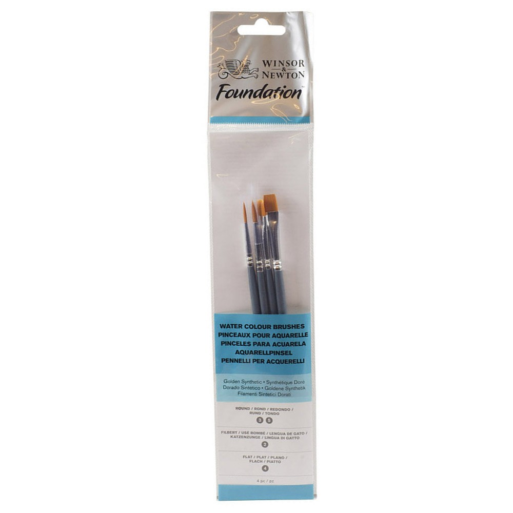 Winsor & Newton : Foundation Watercolour Brush Set : SH Round 3 & 5 Flat 4 Filbert 2