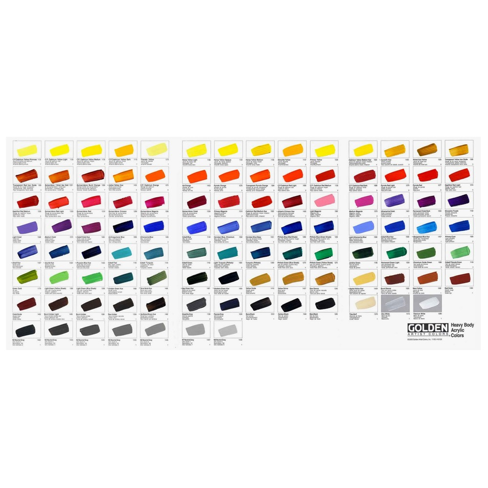 Golden Acrylic : Heavy Body : Hand Painted Colour Chart