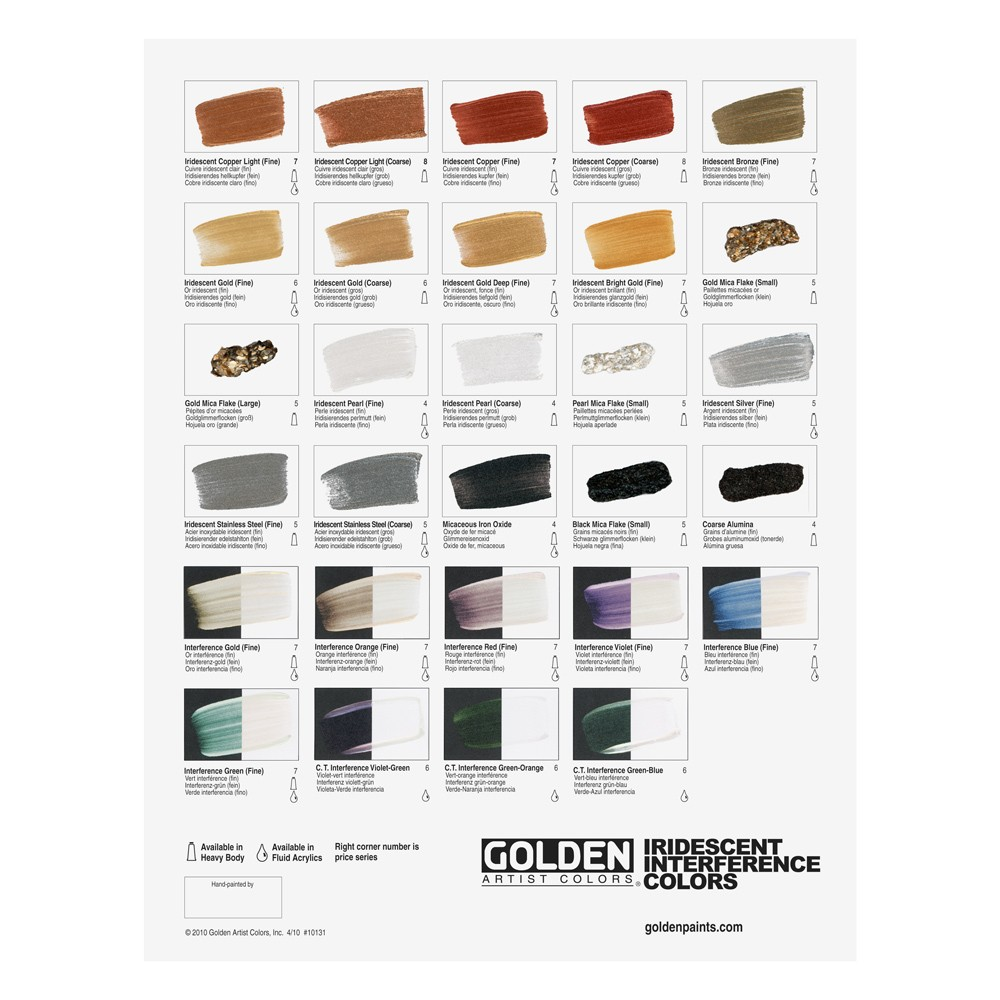 Golden Acrylic : Iridescent interference colours : Hand Painted Colour Chart