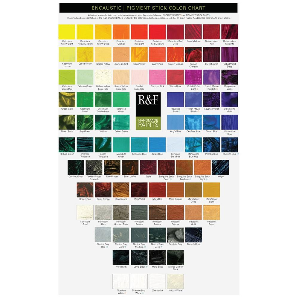 R & F : Encaustic (Wax Paint) : : Hand Painted Colour Chart