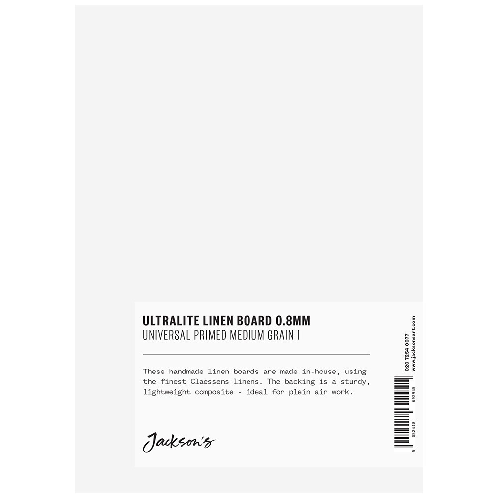 Jackson's : 0.8mm : Ultralite Linen Board : 5x7in : Claessens 166 Medium Surface : Universal Primed : 415gsm