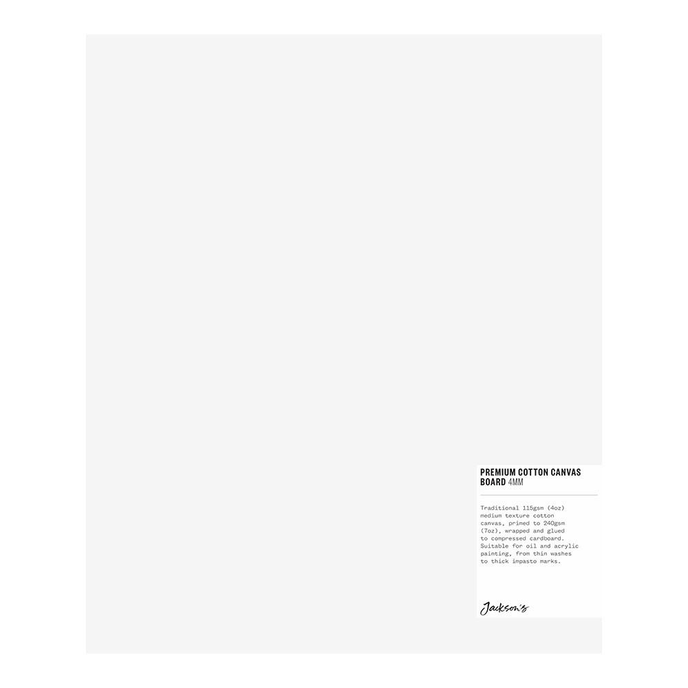 Jackson's : Single : Premium Cotton Canvas Art Board 4mm : 10x12in (Apx.25x30cm)