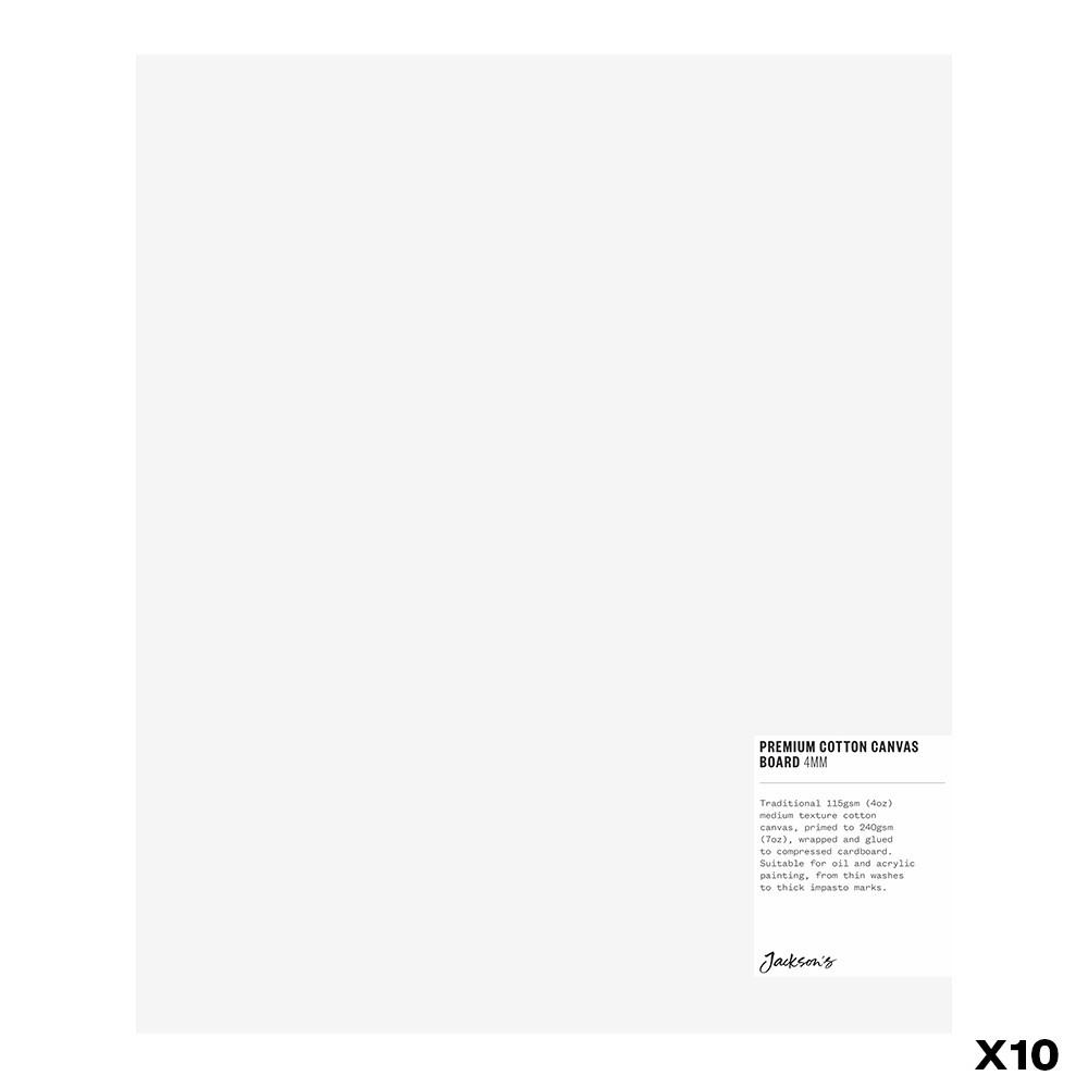 Jackson's : Box of 10 : Premium Cotton Canvas Art Board 4mm : 10x12in (Apx.25x30cm)