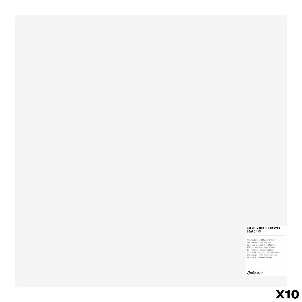Jackson's : Box of 10 : Premium Cotton Canvas Art Board 4mm : 16x16in (Apx.40x40cm)