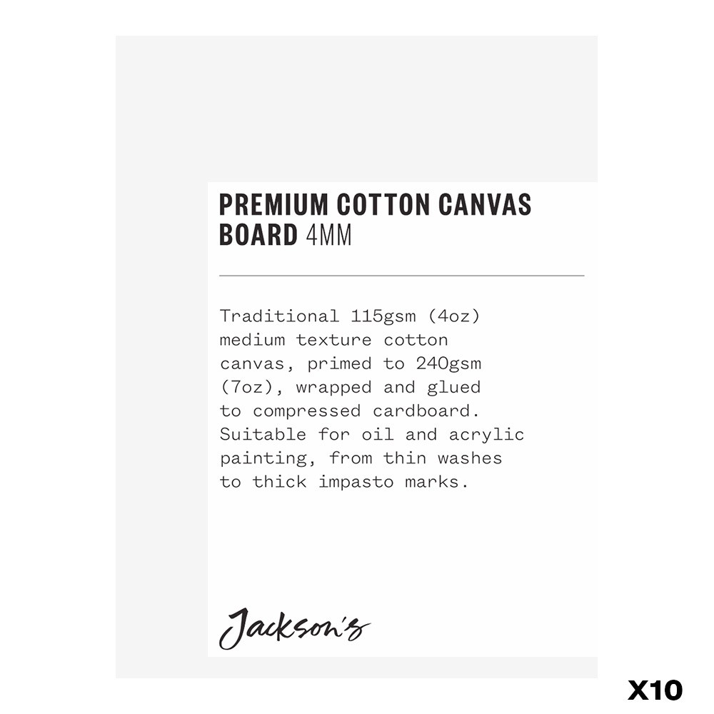 Jackson's : Box of 10 : Premium Cotton Canvas Art Board 4mm : 3x4in (Apx.7x10cm)