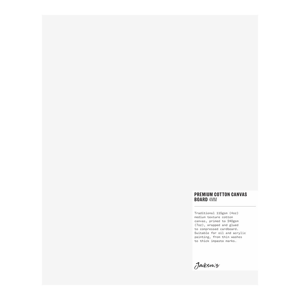 Jackson's : Single : Premium Cotton Canvas Art Board 4mm : 8x10 inch (Apx.20x25cm)