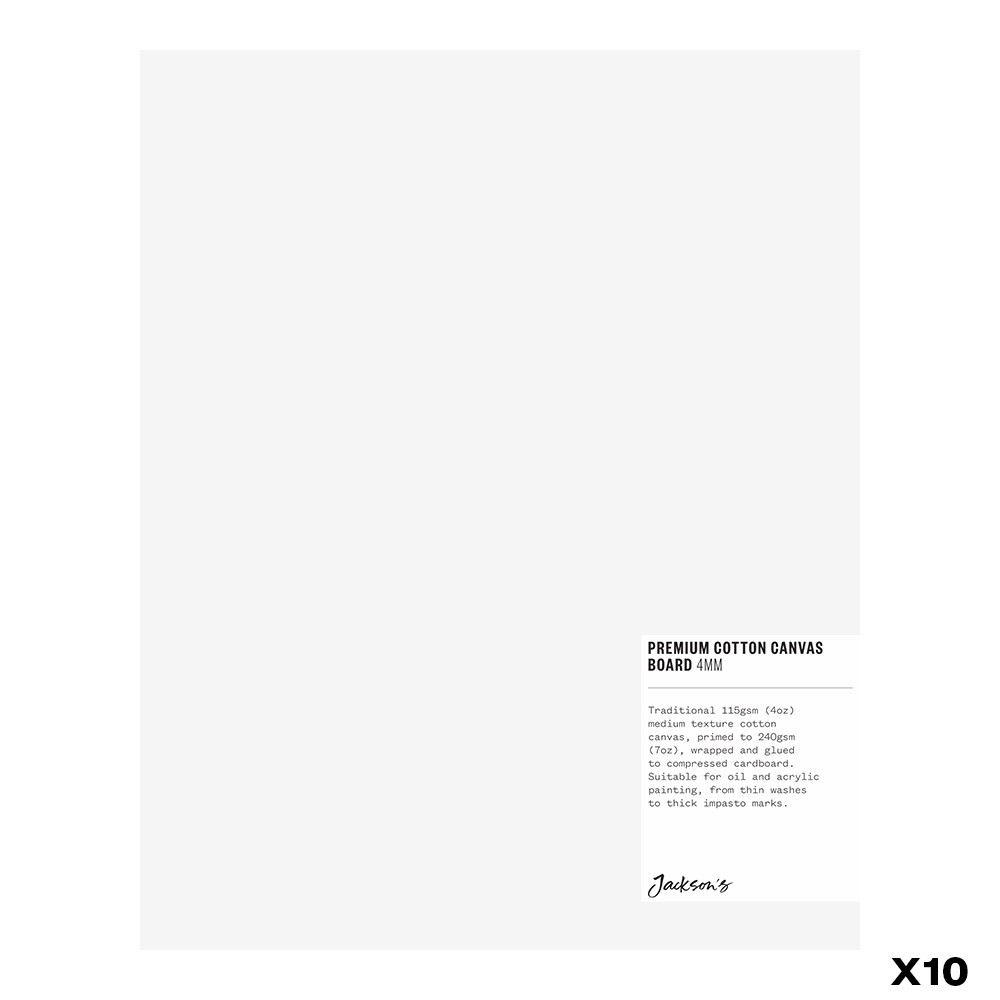 Jackson's : Box of 10 : Premium Cotton Canvas Art Board 4mm : 8x10 inch (Apx.20x25cm)