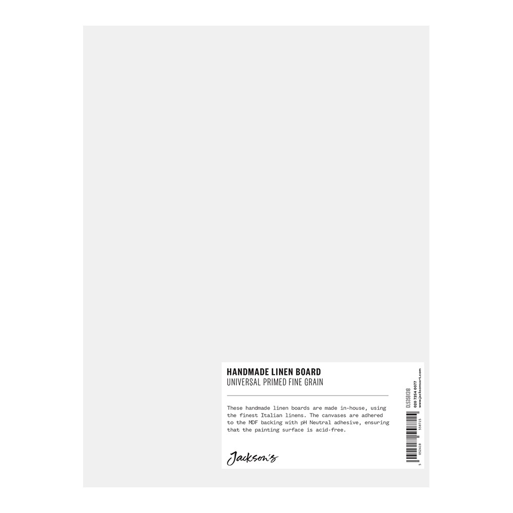 Jackson's : Handmade Boards : Universal Primed Fine Linen CL535 on MDF Board : 18x24cm