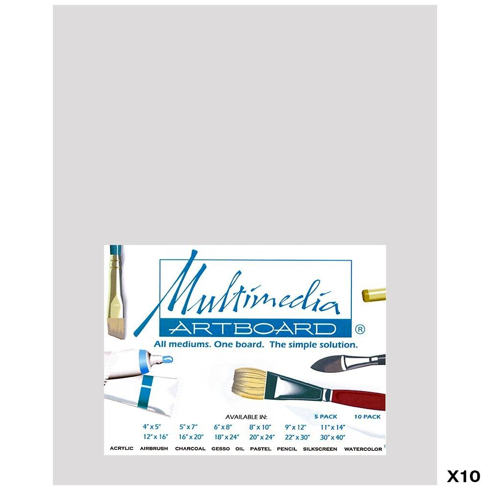 Multimedia Artboard : Pastel Artist Panel : 0.8 mm : 320 Grit : 10 Pack : 8x10in : Light Grey