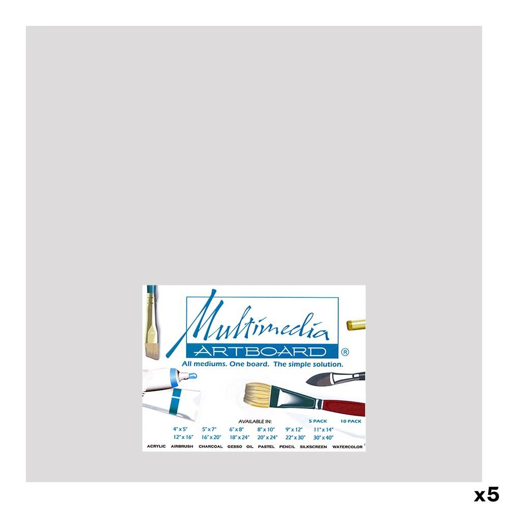 Multimedia Artboard : Pastel Artist Panel : 0.8 mm : 320 Grit : 5 Pack : 12 x12in : Light Grey