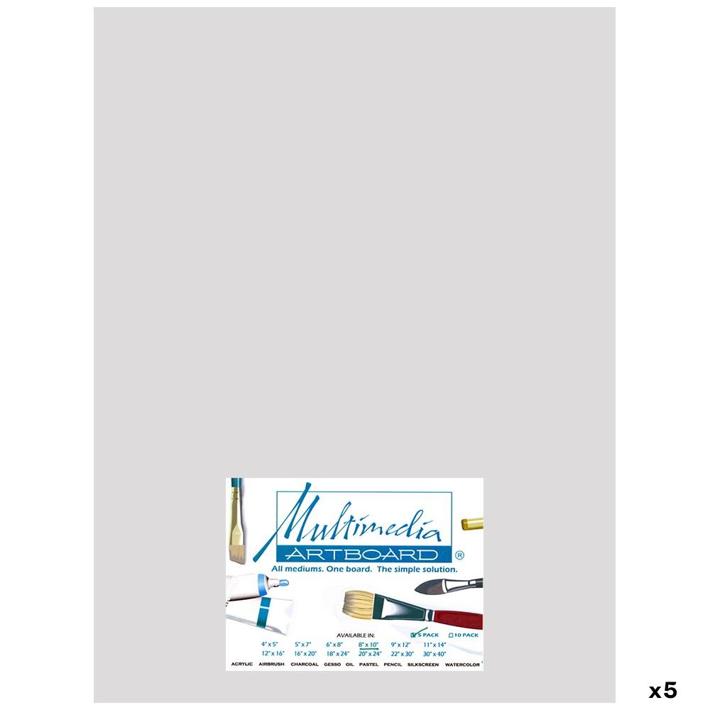 Multimedia Artboard : Pastel Artist Panel : 0.8 mm : 320 Grit : 5 Pack : 12x16in : Light Grey