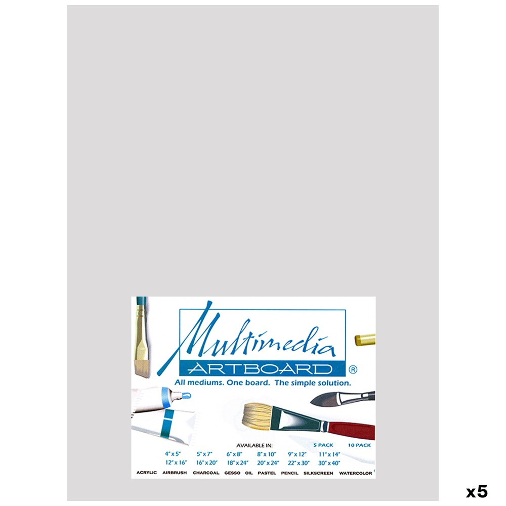 Multimedia Artboard : Pastel Artist Panel : 0.8 mm : 320 Grit : 5 Pack : 9x12in : Light Grey