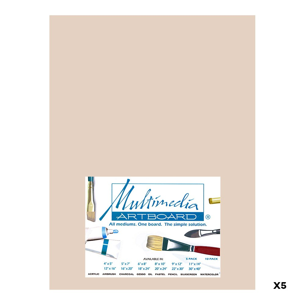 Multimedia Artboard : Pastel Artist Panel : 0.8 mm : 320 Grit : 5 Pack : 9x12in : Sandstone