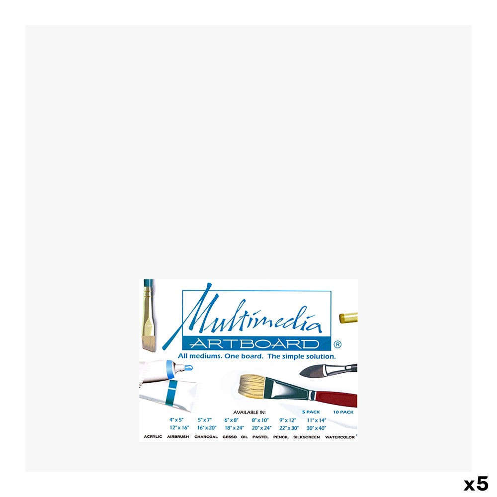 Multimedia Artboard : Pastel Artist Panel : 0.8 mm : 320 Grit : 5 Pack : 12 x12in : White