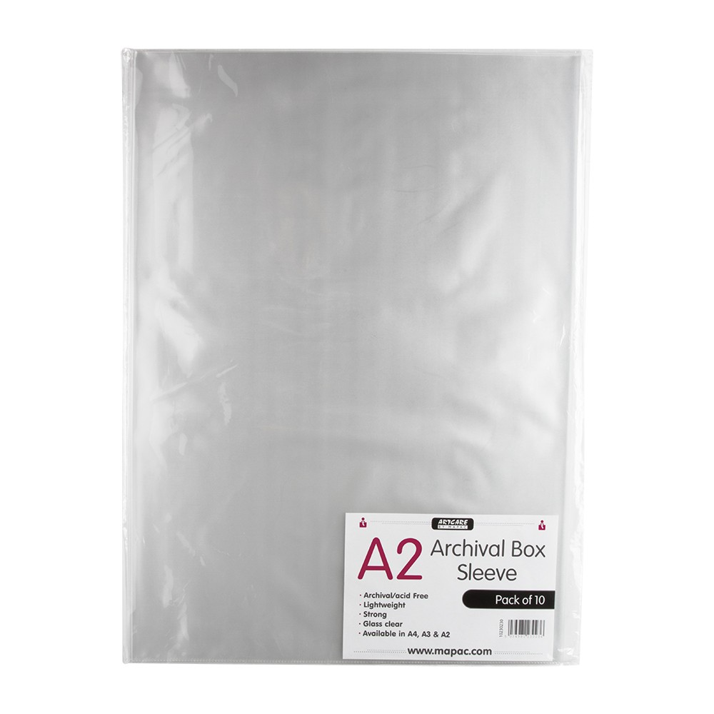 Mapac : Archival Box Sleeve : A2 : Pack of 10 : Clear : No Ring Binder Holes