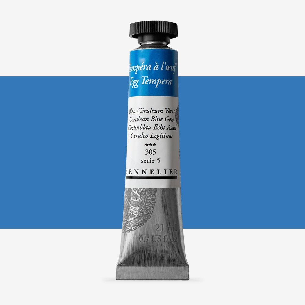 Sennelier : Egg Tempera Paint : 21ml : Cerulean Blue