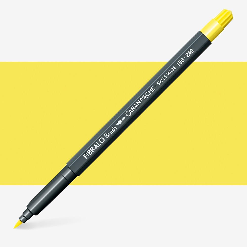 Caran Dache : Fibralo Water Soluble Brush Pen : Lemon Yellow