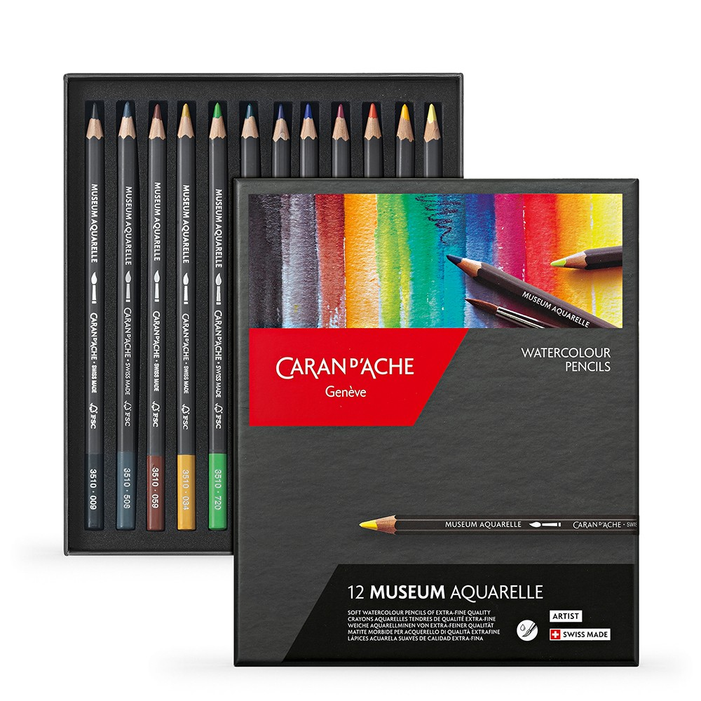 Caran d'Ache : Museum Aquarelle : Box Set of 12 Assorted Colours
