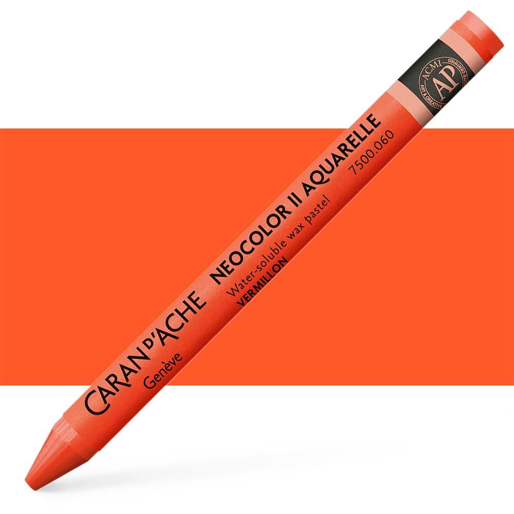 Caran d'Ache : Neocolor II : Watercolour Crayon : Vermillion