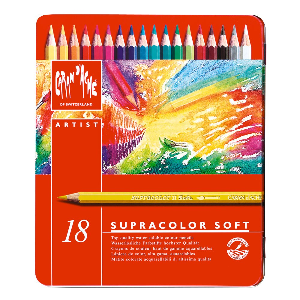 Caran d'Ache : Supracolor Soft : Watersoluble Pencil : Metal Tin Set of 18