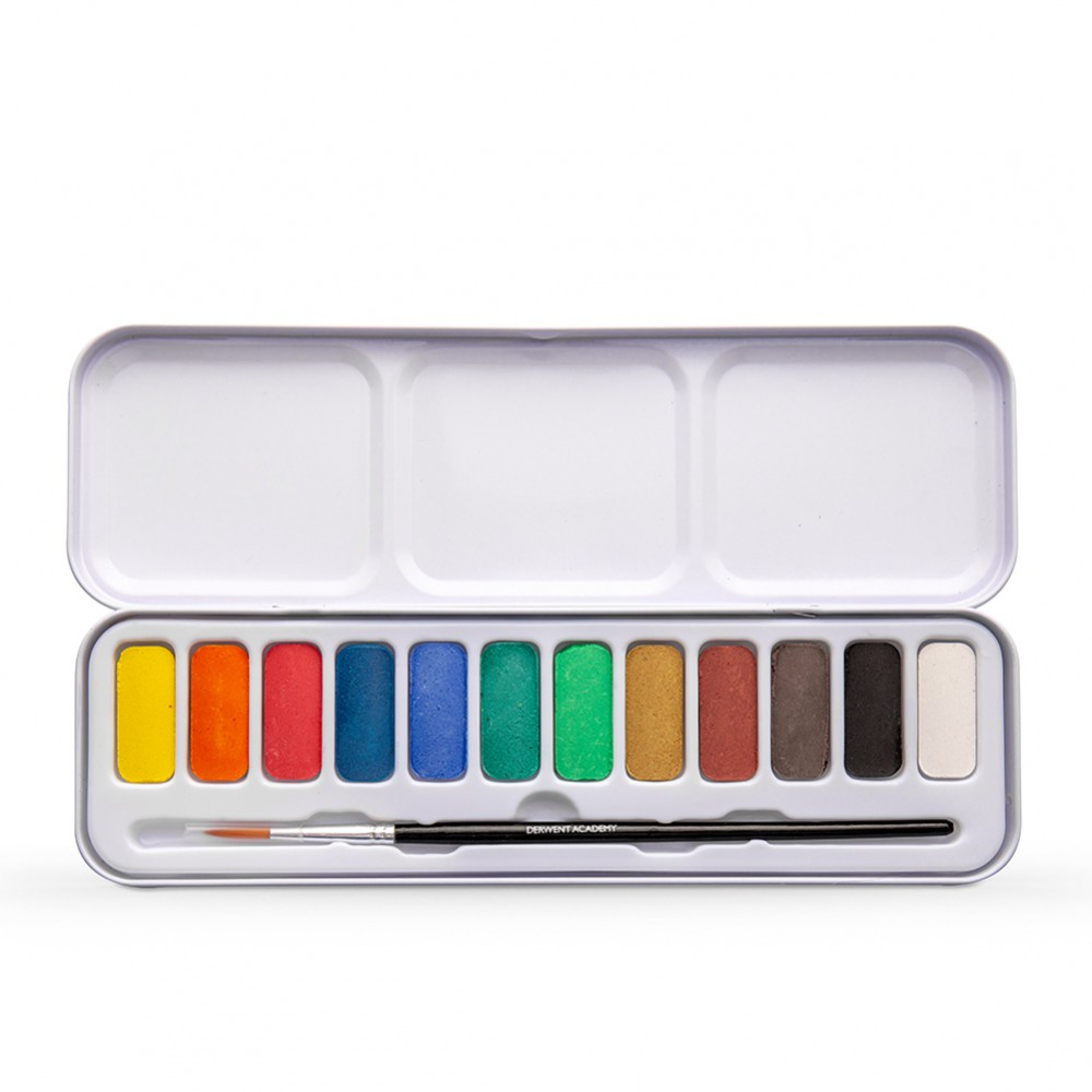 Derwent : Academy Watercolour Paint : Pan Set Of 12