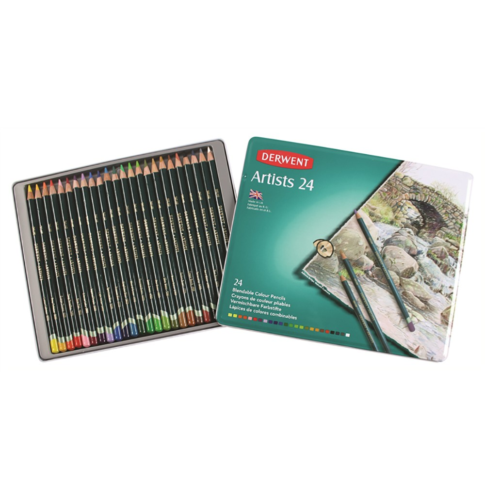 Derwent : Artists 24 Coloured Pencil Set in Metal Tin