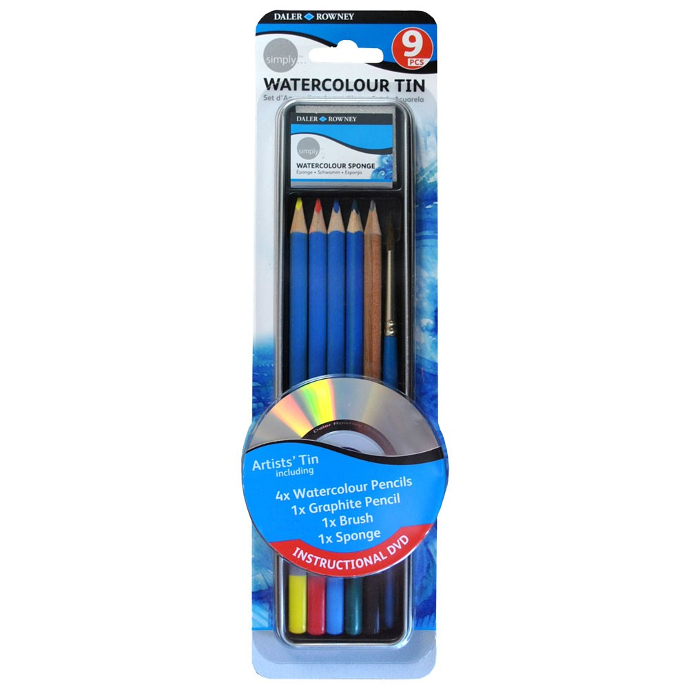 Daler Rowney : Simply Pencil : Watercolour Tin Set : Set Of 9