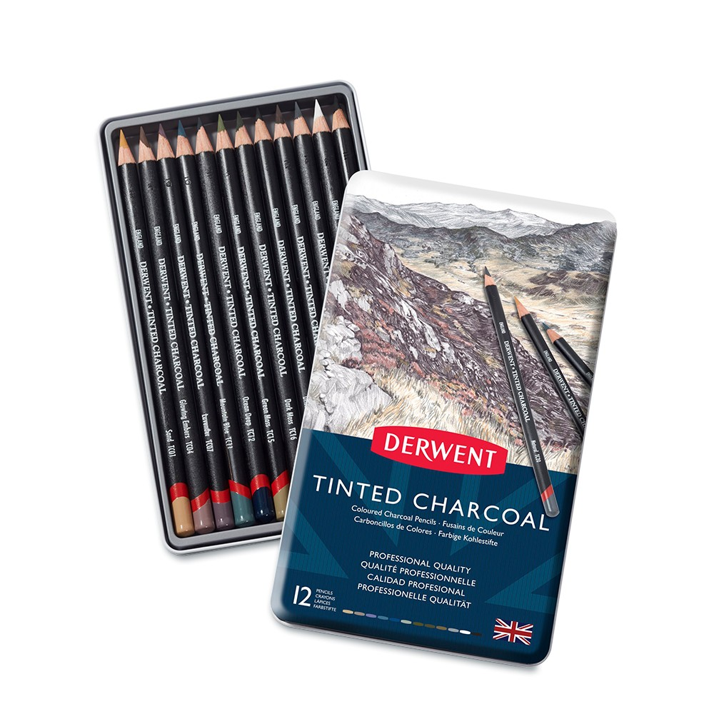 Derwent : Tinted Charcoal Pencil : Metal Tin Set of 12