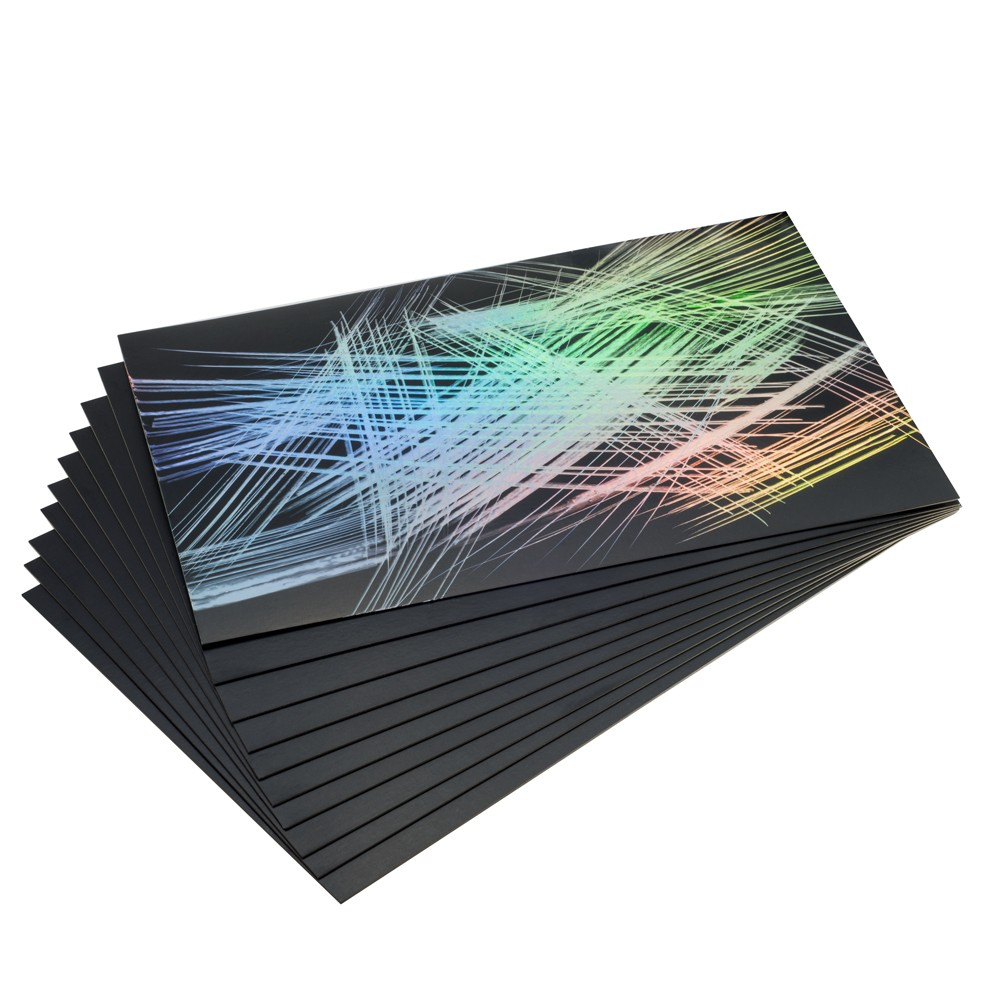 Essdee : Scraperfoil : Black coated Rainbowfoil : 152x101mm : Pack of 10 Sheets