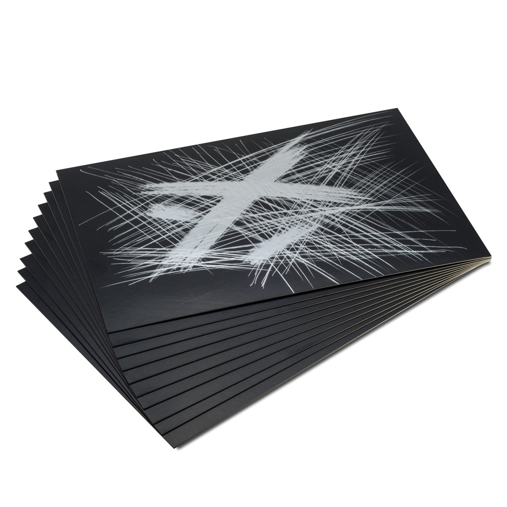 Essdee : Scraperfoil : Black coated Silverfoil : 229x152mm : Pack of 10 Sheets