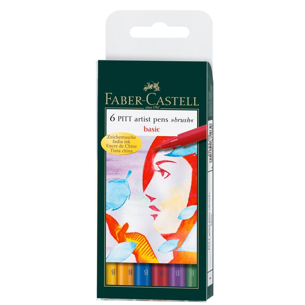 Faber Castell : Pitt Artists Brush Pen : Set of 6 : Basic